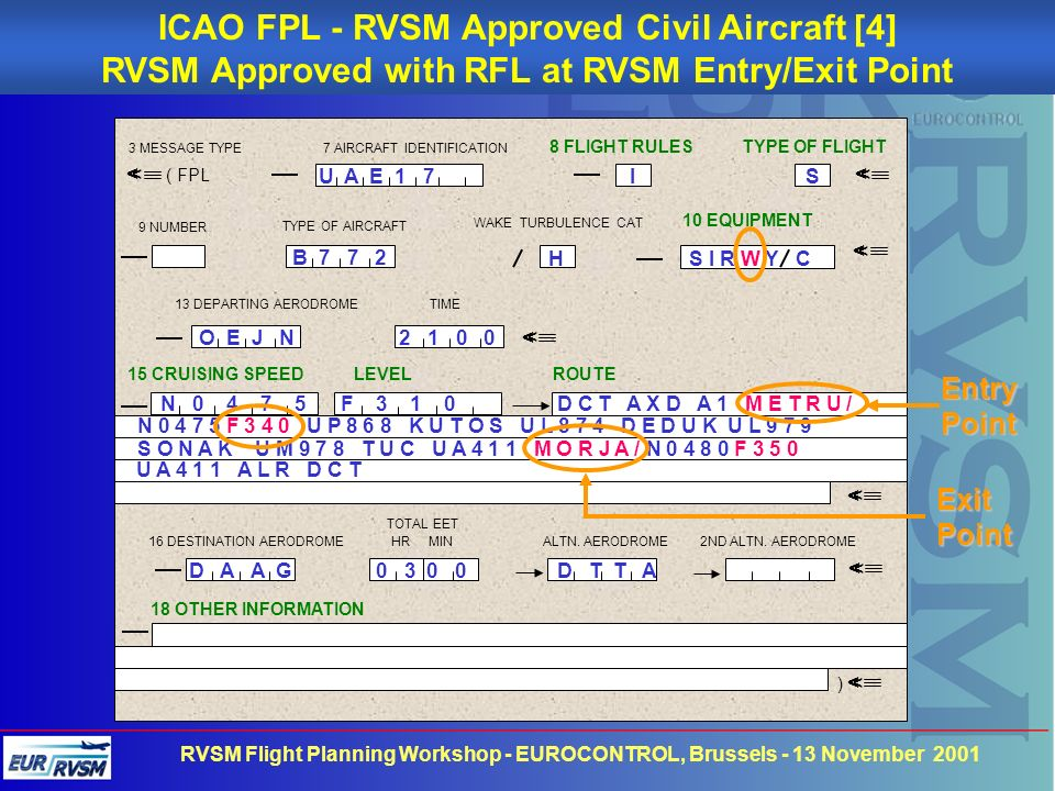ICAO FPL - RVSM Approved Civil Aircraft [4]